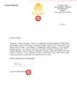 Letter of Lopon Tsechu Rinpoche to the MFI, October 25, 2001