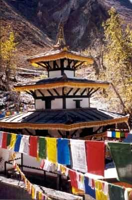Picture of Muktinath temple with prayer flags