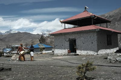 The puja room for Hindu pilgrims at Muktinath behind the pujari house