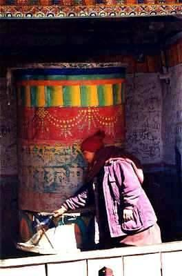 Picture of Muktinath prayer wheel with nun