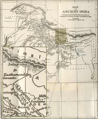Map with the location of Sãlagrãma as can be found inThe Geograhical Dictionary of Ancient and Medieval India